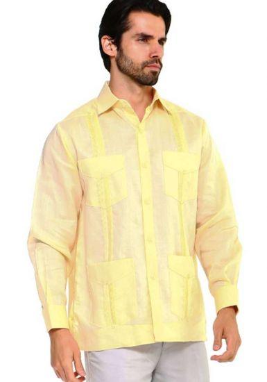 Traditional Guayabera Shirt Regular Linen Long Sleeve. Banana Color.