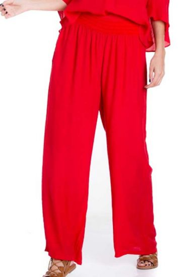 Women's Comfy Casual Resort Lounge Palazzo Pant Fully Lined. Red Color