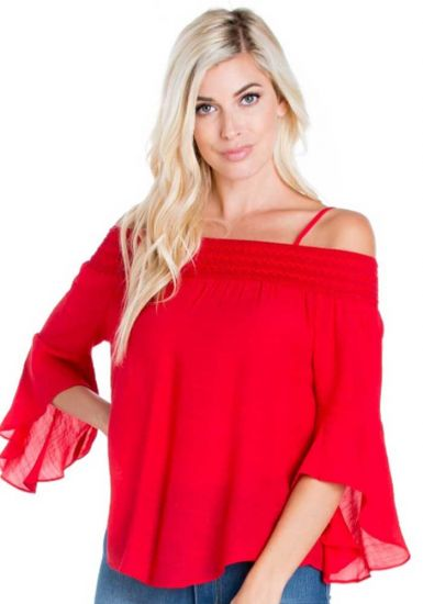 Women's 3/4 Bell Sleeve Peasant Top. Sexy Blouse. Red Color.