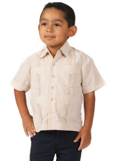 Boys Poly-Cotton Blend Guayabera for kids. 2 to 8 Years. Short Sleeve. Run one size less than the Age. Beige Color.
