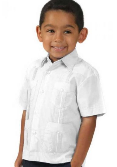 Boys Poly-Cotton Blend Guayabera for kids. 2 to 8 Years. Short Sleeve. Run one size less than the Age. White Color.