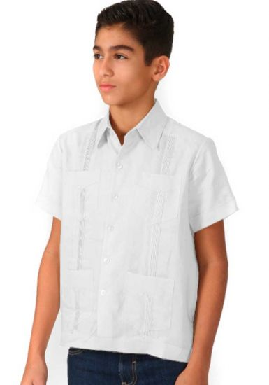 Junior Linen Guayaberas - 8 to 16 Years. Juvenil. It Runs Small. White Color.