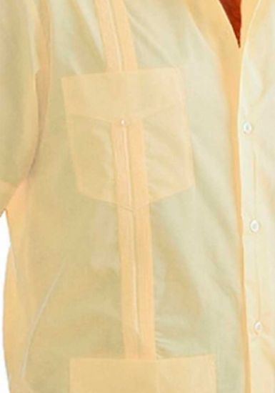 Uniform Guayabera Poly- Cotton Wholesale Short Sleeve for Ladies. Banana Color. Runs Small