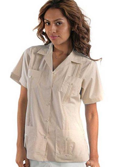 Uniform Guayabera Poly- Cotton Wholesale Short Sleeve for Ladies. Beige Color. Runs Small