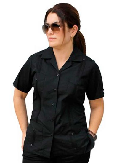 Uniform Guayabera Poly-Cotton Wholesale Short Sleeve for Ladies. Black Color. Runs Small