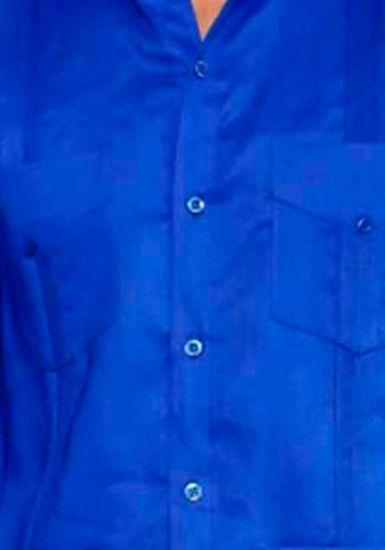Uniform Guayabera Poly- Cotton Wholesale Short Sleeve for Ladies. Royal Blue Color. Runs Small