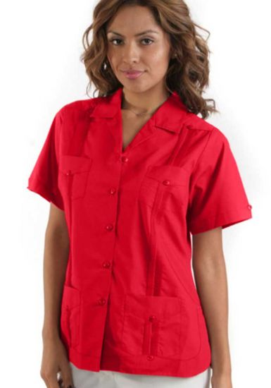 Uniform Guayabera Poly- Cotton Wholesale Short Sleeve for Ladies. Red Color. Runs Small.