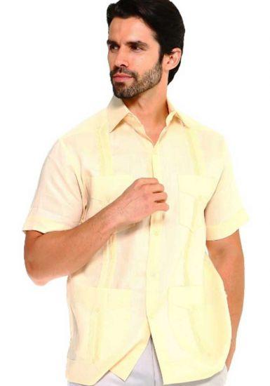 Short Sleeve Traditional Cuban Guayabera, Four Pockets. Banana Color. Light Yellow Color.