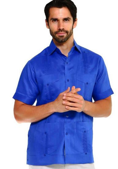 Short Sleeve Traditional Cuban Guayabera. Four Pockets. Royal Blue Color.