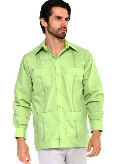Long Sleeve Uniform Poly-Cotton Guayabera. Lime Color.