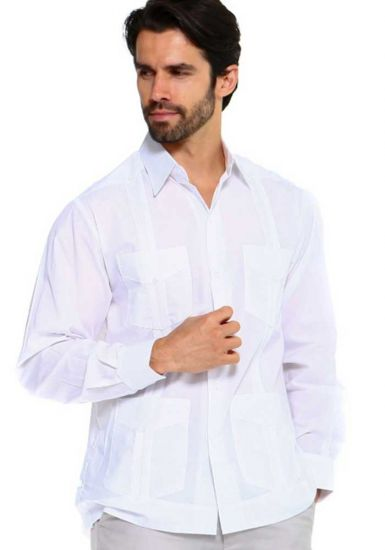 Long Sleeve Uniform Poly-Cotton Guayabera. White Color.