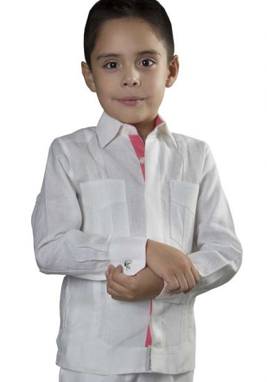 Guayabera for Kids Long Sleeve . Premium 100% Linen. Haute Couture Guayabera. White/Coral Color. Back Orders or Demand. RUN SMALL.
