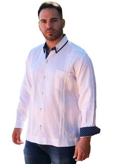 Two Pockets Guayabera with Cuff Print Feature. Groomsmen or Best Men. White/Navy Color.