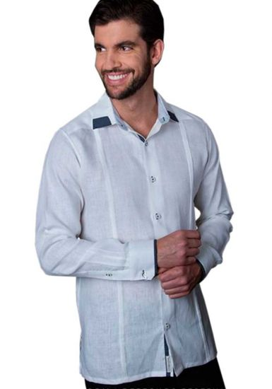 Casual Linen Shirt. Slim Fit. Long Sleeve. High Quality Shirt. White/Navy Color. Back Orders or Demand.