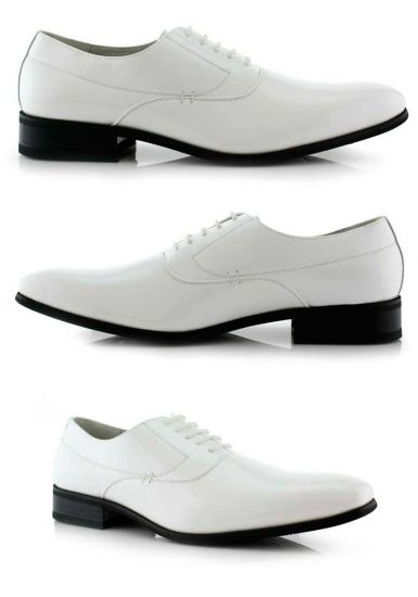 Men's Casual Leather Oxford Lace Up Formal Classic Fashion Business Dress Shoes. White Color.