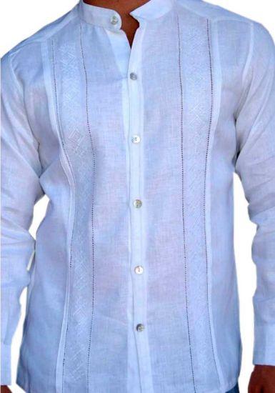 Guayabera Formal Italian Pure  Linen.  Collar Mao. Nacar button. Perfect fit.  5