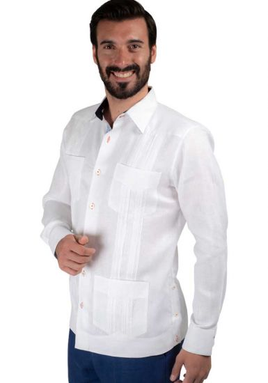 Guayabera Four Pockets and Lace. Detail in White & Navy. Linen 100 %. Back Orders or Demand.