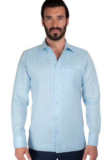 Deluxe Linen Shirt. High Quality. 100% Linen. Long Sleeve. Blue Color. Back Orders or Demand.