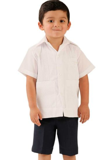 Deluxe Linen Shirt. High Quality for Kids. 100% Linen. Short Sleeves. 3 Pockets. White Color. Back Orders or Demand. RUN SMALL.