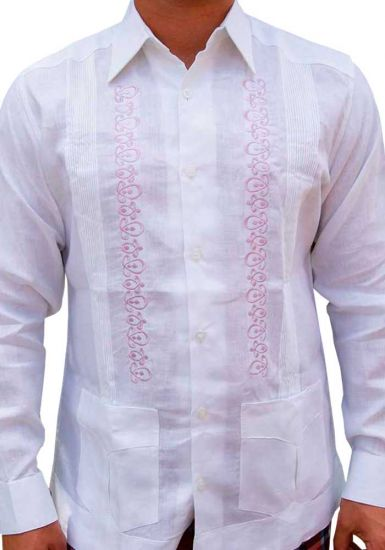 Finest Embroidered in White Color. Wedding Linen Shirt. Excellent Linen 100 %. White/Lilac Color. Back Orders or Demand.