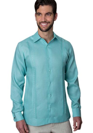 Guayabera Formal Shirt. 100% Linen. Long Sleeve. Finest Tuck & Embroidery. High Quality. Mint Color. Back Orders or Demand.