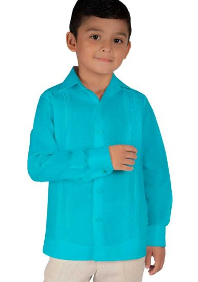 Deluxe Kids Festivities Guayabera. High Quality for Kids. Linen. Finest Tuck & Embroidery. Back Orders or Demand. RUN SMALL.