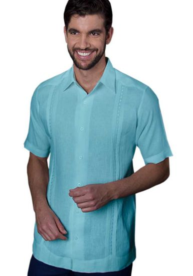 Guayabera Formal Shirt. 100% Linen. Short Sleeve. Finest Tuck & Embroidery. High Quality. Mint Color.  Back Orders or Demand.