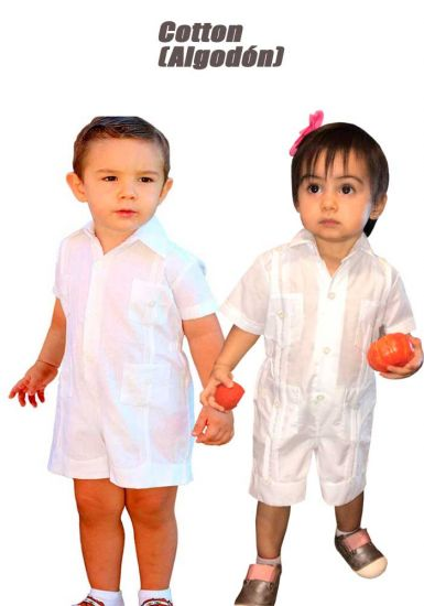 Cotton 100%  Guayabera  Short Romper (Algodon 100%).  Unisex !  BACK ORDERS