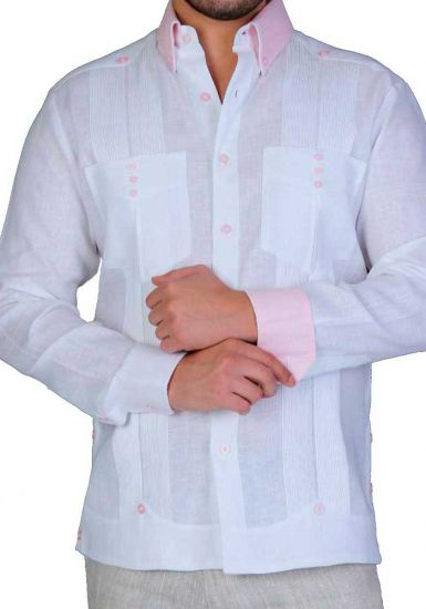 French Cuff Two Pocktes Guayabera. Slim Fit. Modern Color. Back Orders or Demand. White/Pink Color.