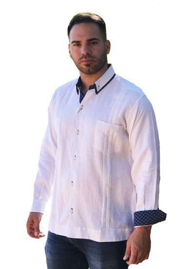 Two Pockets Guayabera with Cuff Print Feature. French Cuff. Groomsmen or Best Men. White/Navy Color.