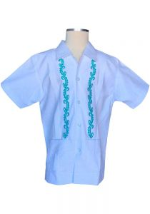 Guayabera Fashion for Kids. Short Sleeves.  Manta Lavada. Embroidered in Turquoise Color. Back Orders or Demand.