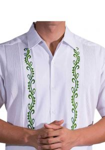 Guayabera Fashion for Weddings. Short Sleeves. Manta Lavada. Embroidered in Green Color. Back Orders or Demand.