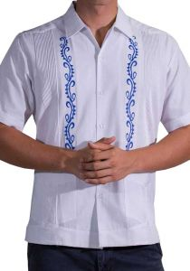 Guayabera Fashion for Weddings. Short Sleeves. Manta Lavada. Embroidered in Royal Blue Color. Back Orders or Demand.