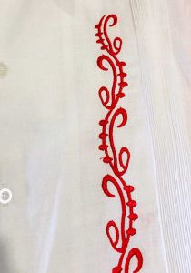 Guayabera Fashion for Weddings. Short Sleeves. Manta Lavada. Embroidered in Red Color. Back Orders or Demand.