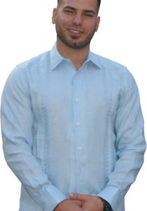 Guayabera Formal Shirt. 100% Linen. Long Sleeve. Finest Tuck & Embroidery. High Quality. Double Eyelet for use Cufflinks. Blue Color. Back Orders or Demand.