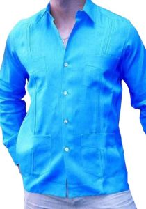 Guayabera  Premium Linen Slim Fit. Hight Quality.  Nacar Button. 4 pockets Mexican Pleats. Aqua Color. Back Orders or Demand.