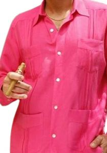Premium Guayabera Slim Fit. Hight Quality. Premium Linen. Nacar Button. Fuschia Color. Back Orders or Demand.