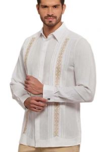 Formal Presidente Guayabera.Gold EMbroidery