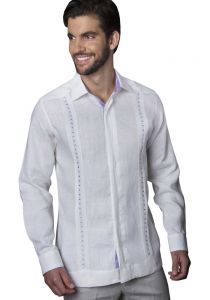 Guayabera Formal Shirt. 100% Linen. Long Sleeve. Finest Tuck & Embroidery. High Quality. White/Lavender Color. Back Orders or Demand.