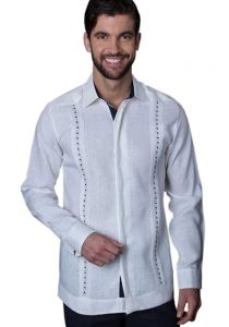 Guayabera Formal Shirt. 100% Linen. Long Sleeve. Finest Tuck & Embroidery. High Quality. White/Navy Color. Back Orders or Demand.