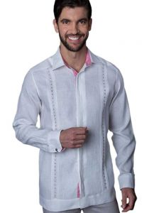 Guayabera Formal Shirt. 100% Linen. Long Sleeve. Finest Tuck & Embroidery. High Quality. White/Pink Color. Back Orders or Demand.