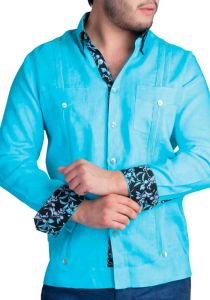Two Pockets Guayabera Print Cuff. Cuban Party Guayabera. Aqua Color. Back Orders or Demand.