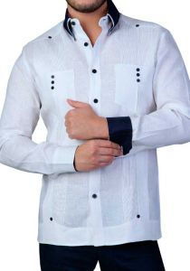 Two Pockets Guayabera. Slim Fit. Modern. Double Eyelet for use Cufflinks. Back Orders or Demand. White/Black Color.