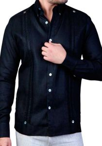 Exquisite Guayabera. Premium Linen Guayabera. Double Eyelet for use Cufflinks. Black Color. Back Orders or Demand.