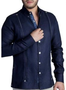 Exquisite Guayabera. Premium Linen Guayabera. French Cuff. Navy Color. Back Orders or Demand.