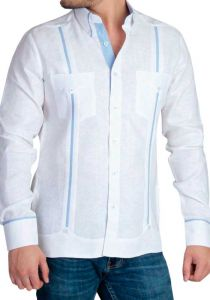 Linen Shirt Guayabera Long Sleeves. Details Print. White/Light Blue Color. Back Orders or Demand.