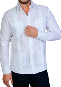 Italian Linen Guayabera. Men's Tradicional 4 Pockets. Long Sleeve. High Quality.  Back Orders or Demand.
