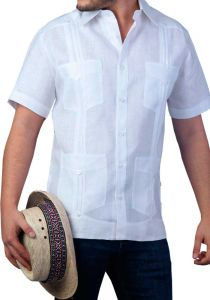 Cuban Men's Tradicional Guayabera 4 Pockets. Short Sleeve. Slim Fit. High Quality. Italian Linen. Back Orders or Demand.