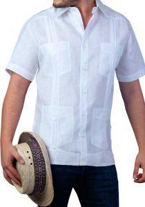Cuban Men's Tradicional Guayabera 4 Pockets. Short Sleeve. Slim Fit. High Quality. Italian Linen. Back Orders or Demand.