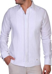 Wedding Exquisite Guayabera. Linen 100 %. French Cuff. White Color. Back Orders or Demand.